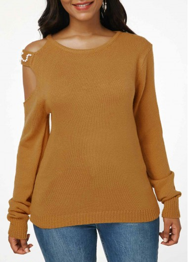 Women'S Tan Cold Shoulder Long Sleeve Sweater Ginger Solid Color Pullover Faux Pearl Embellished Tunic Casual Top By Rosewe - L