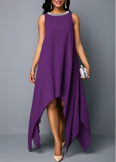 Women Purple Chiffon Tent Dress Sleeveless Tunic Shift Maxi Asymmetric Hem Embellished Neck Party Dress By Rosewe - M