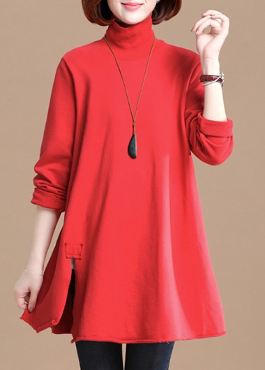 Red High Neck Side Slit T Shirt - L