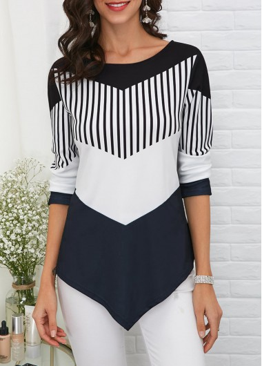 Asymmetric Hem Long Sleeve T Shirt - M