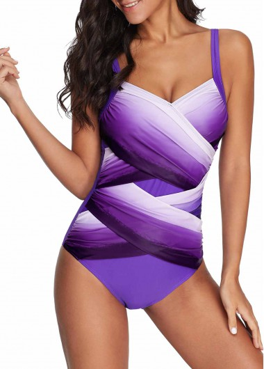 One-Piece Swimsuits Open Back Cross Front One Piece Swimwear - L