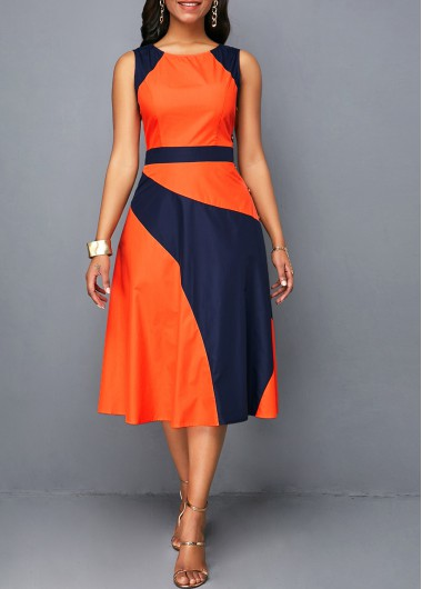 Women'S Color Block Sleeveless High Waisted Casual Dress Round Neck Midi Dress By Rosewe - L