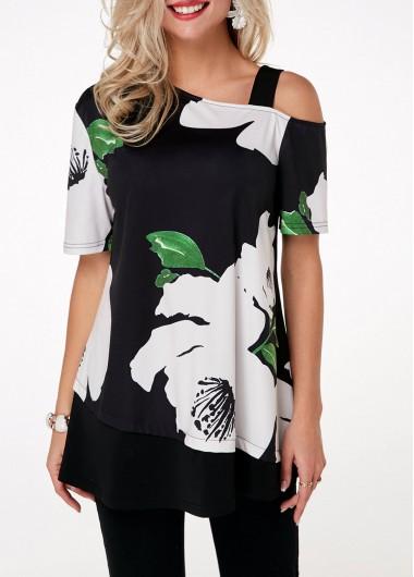 Short Sleeve Flower Print Cold Shoulder T Shirt