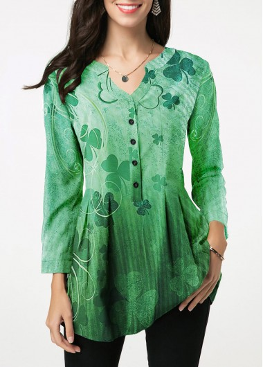St. Patrick'S Day Women'S Green Shamrock Print Three Quarter Sleeve Tunic Work Blouse Button Detail Split Neck Casual Top By Rosewe - L