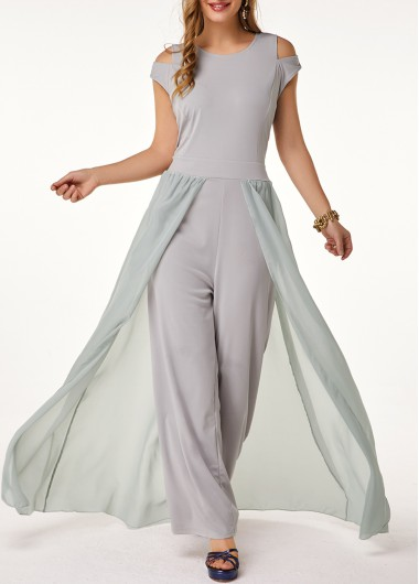 Women'S Light Grey Formal Jumpsuit Chiffon Wide Leg Flowy Sleeveless Wedding Guest Round Neck High Waisted Jumpsuit By Rosewe - L