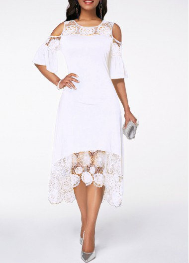 Rosewe Women Dress White Lace Illusion Casual Midi Cold Shoulder - M