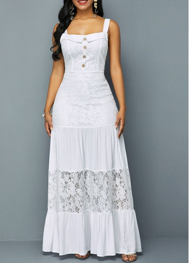Women'S White Lace Patchwork Ruffle Hem Button Detail Maxi Spring Dress Solid Color Wide Strap Elegant Simple Wedding Dress By Rosewe - L