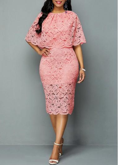 Rosewe Women Dress Light Pink Lace Half Sleeve Overlay Sheath Elegant - L
