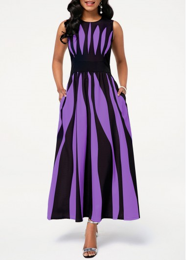 Women'S Purple Stripe Printed Sleeveless Maxi Casual Dress With Pockets Round Neck Vintage Spring Dress By Rosewe - L