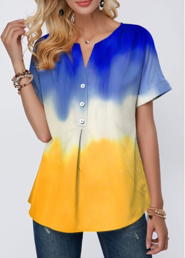 Women'S Color Block Split Neck Short Sleeve Tunic T Shirt Button Detail Casual Shirt Top By Rosewe - L
