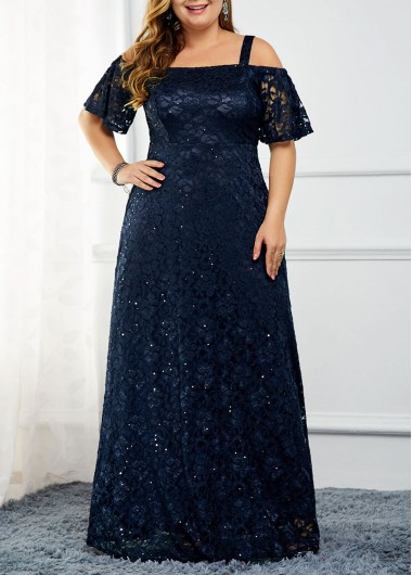 Women'S Navy Blue Lace Sequin Strappy Cold Shoulder Cocktail Party Dress Plus Size Short Sleeve Zipper Back Maxi Evening Dres By Rosewe - 0X