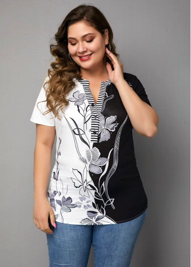 Women'S Black And White Plus Size Floral Printed Casual Blouse Split Neck Short Sleeve Color Block Tunic Top By Rosewe - 0X