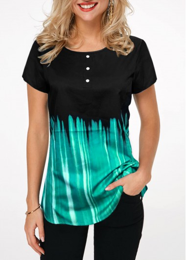 Short Sleeve Printed Button Front T Shirt - M