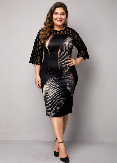 Women'S Black Plus Size Illusion Dress Lace Panel Geometric Print Sheath Three Quarter Sleeve Midi Dress By Rosewe - 0X