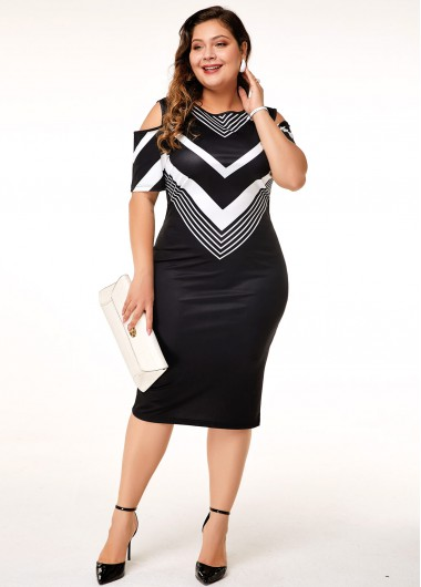 Women'S Black Plus Size Cold Shoulder Sheath Cocktail Party Dress Chevron Print Midi Short Sleeve Elegant Dress By Rosewe - 0X
