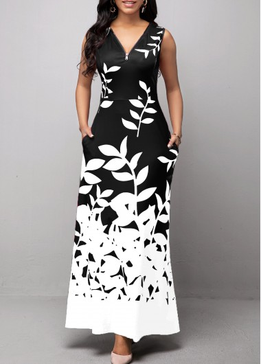 Women'S Black And White V Neck Sleeveless Vintage Dress Cocktail Party Leaf Print Maxi Sheath Elegant Dress By Rosewe - M