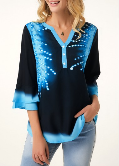 Printed Button Detail Flare Cuff Blouse - M