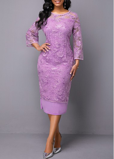 Women'S Purple Lace Three Quarter Sleeve Cocktail Party Dress Solid Color Sheath Round Neck Midi Fall Dress By Rosewe - M