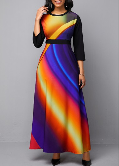 Women'S Multicolor Three Quarter Sleeve A Line Vintage Dress Round Neck Printed Maxi Casual Dress By Rosewe - M
