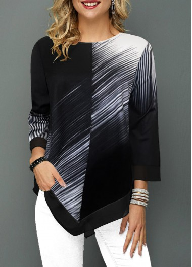 Women'S Black And White Round Neck Three Quarter Sleeve T Shirt Color Block Asymmetric Hem Tunic Casual Top By Rosewe - L