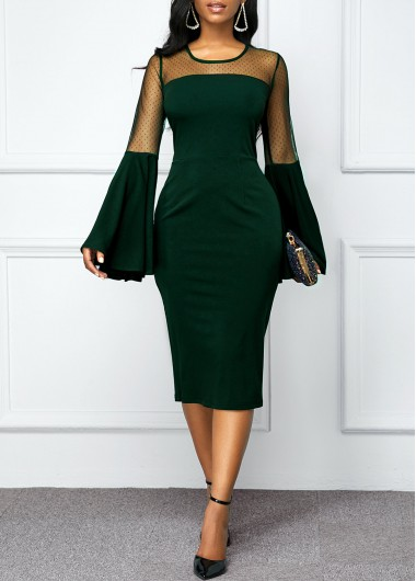 Women'S Dark Green Illusion Flare Sleeve Cocktail Party Holiday Dress Solid Color Long Sleeve Round Neck Sheath Midi Dress By Rosewe - L