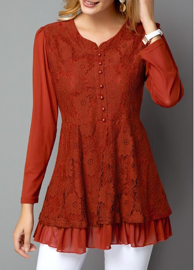 Women'S Rust Red Lace Button Front Long Sleeve Tunic Holiday T Shirt  Solid Color Casual Top By Rosewe - M