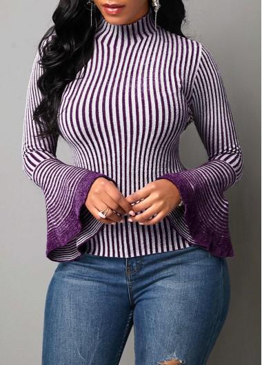 Women'S Purple Stripe Mock Neck Flare Sleeve Sweater Long Sleeve High Neck Casual Top By Rosewe - XXL