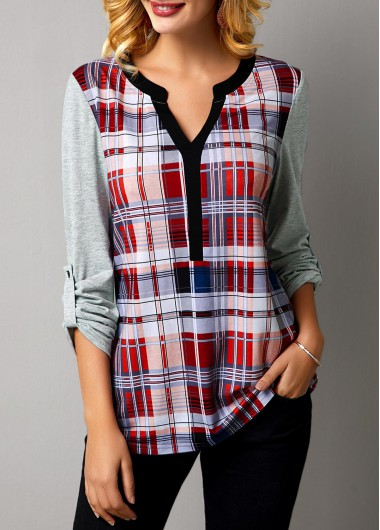 Women'S Multicolor Plaid Print Long Sleeve Split Neck T Shirt Tunic Casual Top By Rosewe - M