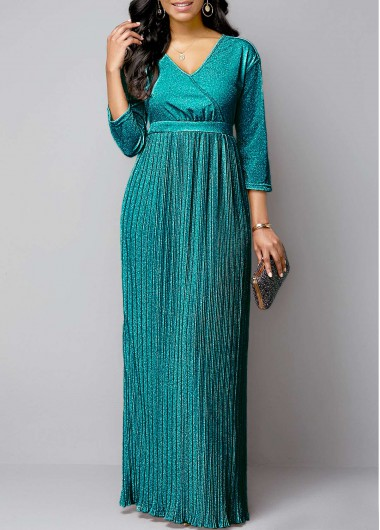 Women'S Turquoise Plunging Neck Pleated Hem Evening Party Maxi Dress Green Hot Stamping Solid Color Three Quarter Sleeve Dress By Rosewe - L