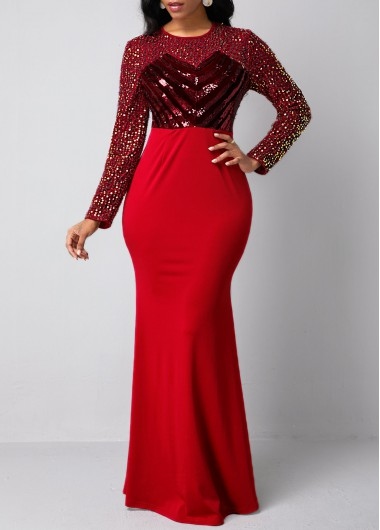 New Years Eve Women'S Red Sequin Long Sleeve Mermaid Holiday Evening Party Dress  Sheath Maxi Elegant Dress By Rosewe - L