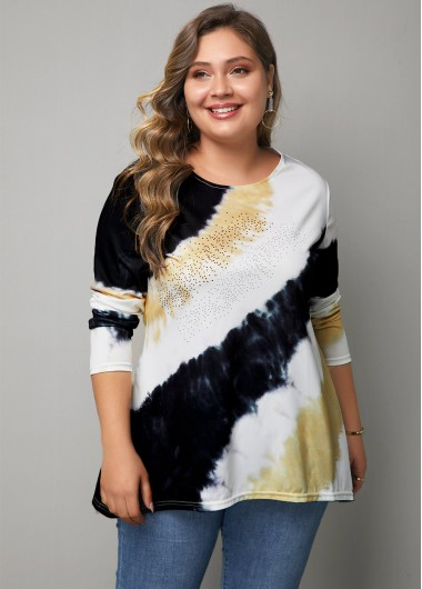 Women'S Multicolor Plus Size Long Sleeve T Shirt Color Block Printed Tunic Casual Top By Rosewe - 0X