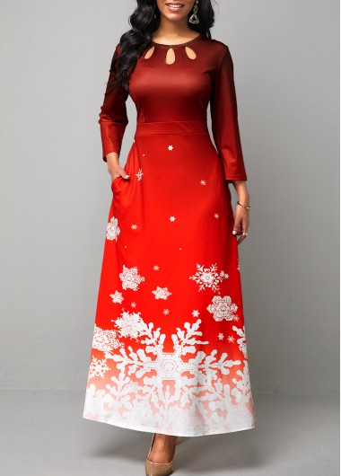 Women'S Red Snowflake Print Cutout Front Maxi Holiday Dress  Long Sleeve A Line Cocktail Party Dress By Rosewe - L