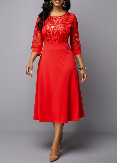 Christmas Women'S Red Illusion A Line Midi Cocktail Party Dress Xmas Solid Color Three Quarter Sleeve Dress By Rosewe - M