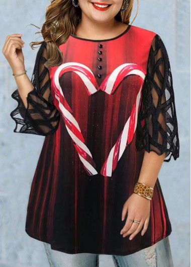 Printed Plus Size Three Quarter Sleeve T Shirt - 0X