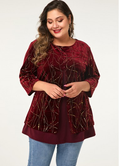 Women'S Red Plus Size Three Quarter Sleeve Holiday T Shirt Burgundy Button Front Tunic Casual Top By Rosewe - 0X
