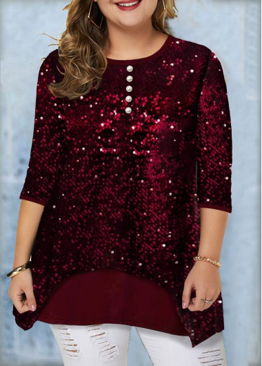 Christmas Women'S Wine Red Plus Size Sequin Tunic T Shirt Xmas Solid Color Three Quarter Sleeve Button Detail Casual Holiday Top By Rosewe - 16W