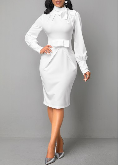 Women'S White Long Sleeve Bow Collar Sheath Cocktail Party Dress Solid Color Mock Neck Knee Length Elegant Work Dress By Rosewe - L