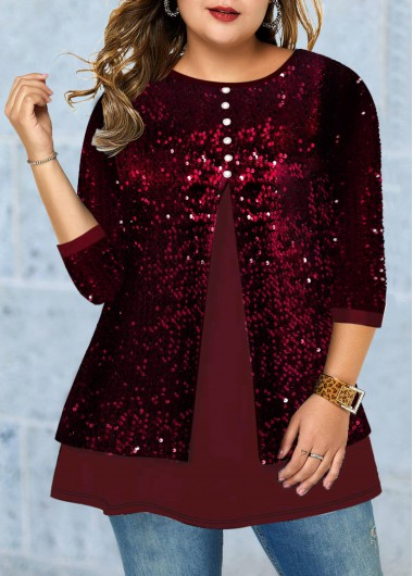 Xmas Women'S Deep Red Sequin Plus Size Tunic Casual T Shirt Christmas Solid Color Burgundy Three Quarter Sleeve Casual Top By Rosewe - 0X