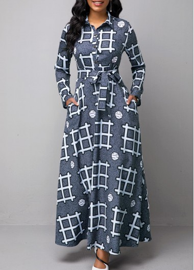 Women'S Multi Color Geometric Print Long Sleeve Maxi Dress  Turndown Collar High Waisted Cocktail Party Dress By Rosewe - L