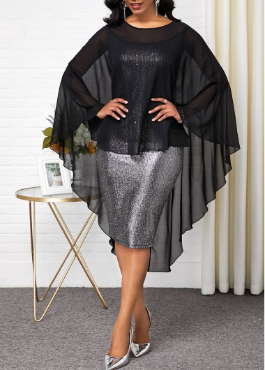 Women'S Black Poncho Faux Two Piece Sheath Overlay Cocktail Party Dress Round Neck Long Sleeve Midi Elegant Dress By Rosewe - L
