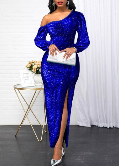 New Years Eve Women'S Royal Blue Sequin Side Slit Maxi Evening Party Dress Solid Color Skew Neck Long Sleeve Elegant Dress By Rosewe - M