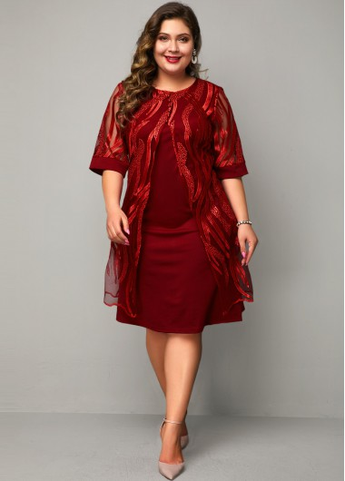 Women'S Red Plus Size Faux Two Piece Holiday Dress Solid Color Burgundy Three Quarter Sleeve Lace Panel Midi Dress By Rosewe - 0X