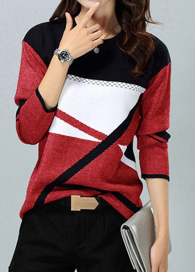 Women'S Red Geometric Print Long Sleeve Pullover Sweater Color Block Tunic Casual Jumper By Rosewe - XL