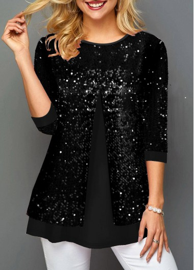 New Years Eve Women'S Black Sequin Faux Two Piece Three Quarter Sleeve T Shirt Solid Color Tunic Casual Top By Rosewe - M