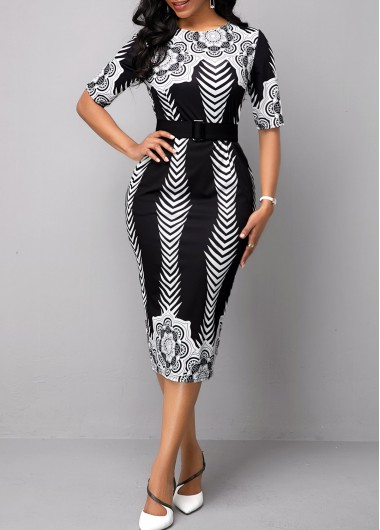 Half Sleeve Belted Tribal Print Dress