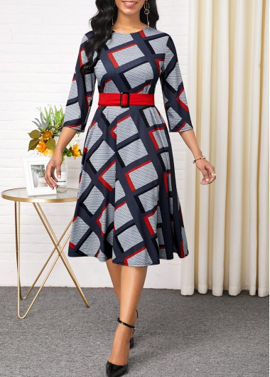 Women'S Multi Color Plaid Print Long Sleeve Belted Dress A Line Midi Casual Dress By Rosewe - 10