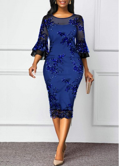 New Years Eve Women'S Blue Sequin Flare Sleeve Sheath Cocktail Party Dress Solid Color Three Quarter Sleeve Mesh Panel Midi Dressby Rosewe - L