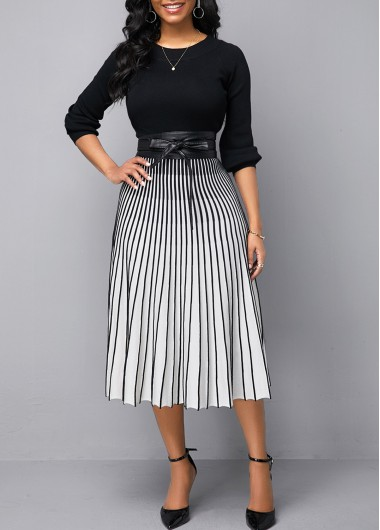 Women'S White Tie Waist Vertical Striped Round Neck Sweater Dress Long Sleeve A Line Casual Dress By Rosewe - M