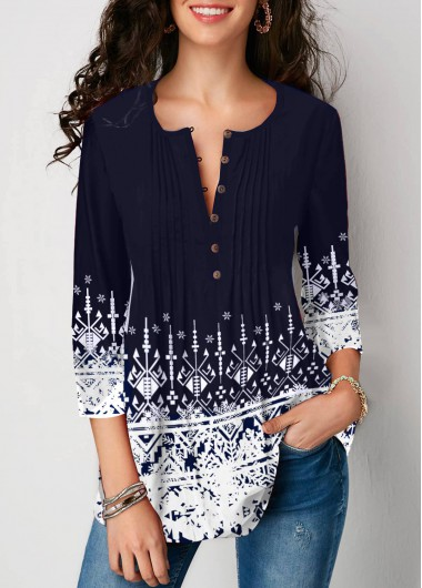 Women'S Royal Blue Snowflake Print Crinkle Chest Holiday Blouse  Three Quarter Sleeve Split Neck Tunic Casual Top By Rosewe - L