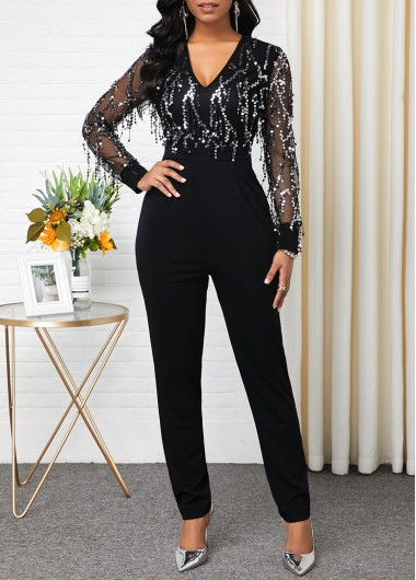 Women'S Black Sequin V Neck Long Sleeve Formal Jumpsuit Skinny New Year Eve Jumpsuit By Rosewe - 10